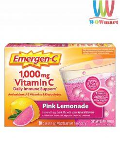 Bột sủi C tăng đề kháng Emergen-C Pink Lemonade Vitamin C 1000mg 30 gói