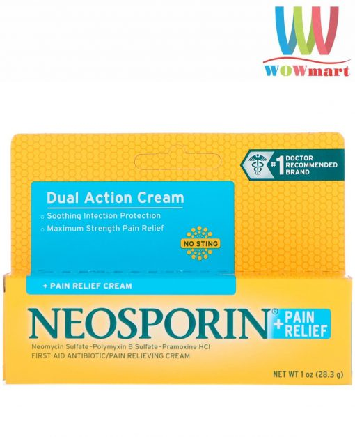 Kem mỡ trị bỏng, kháng viêm, liền sẹo Neosporin Dual Action Cream 28.3g
