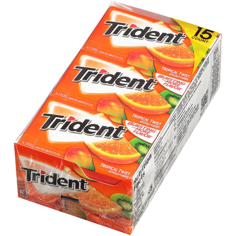 Kẹo Gum không đường Trident Tropical Twist 14 miếng x 15 gói