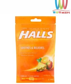 Kẹo Halls thông cổ trị ho Halls Soothes & Relieves Tropical Fruit 30 Drops