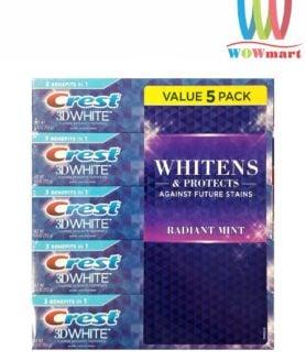 Lốc 5 kem đánh răng Crest 3D White Whiten & Protects Radiant Mint 153g