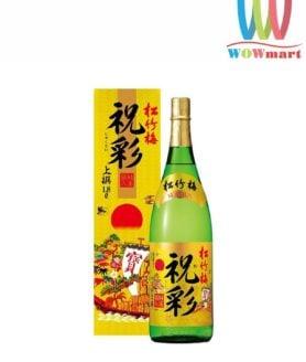 Rượu Sake vảy vàng Hakushika mặt trời đỏ 1800ml hàng nội địa Nhật Bản