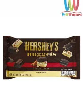 Socola đen Hershey hạnh nhân Hershey's Nuggets Special Dark With Almonds 299g túi ngang