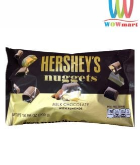Socola Hershey hạnh nhân Hershey's Nuggets Milk Chocolate Almonds 299g túi ngang