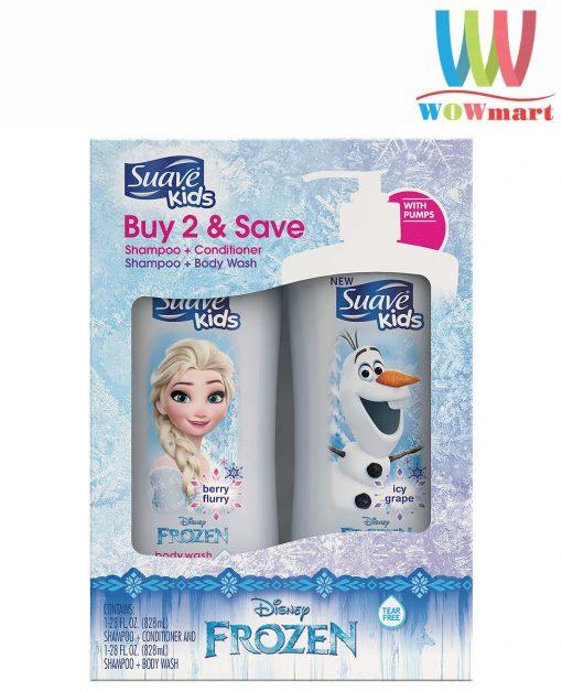 Sữa tắm gội cho bé Suave Kids Disney Frozen 828ml set 2 chai