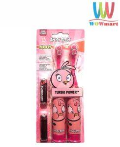 Bàn chải đánh răng bằng pin cho bé Angry Birds Turbo Power 2 cây hồng