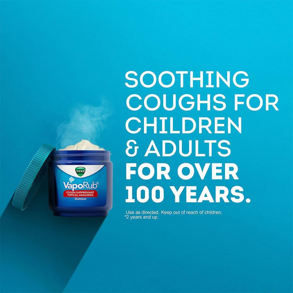 Dầu bôi ấm ngực giảm đau trị ho Vicks VapoRub Cough Suppressant Ointment 100g x 2 hộp