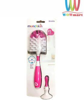 Dụng cụ cọ rửa bình sữa Bristle Munchkin màu hồng