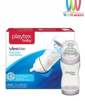 Hộp 3 bình sữa nghiêng cổ rộng Playtex Baby Ventaire Anti Colic 266ml
