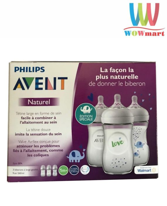 Hộp 3 bình sữa Philips Avent Naturel Blue Elephant 1m+ 260ml