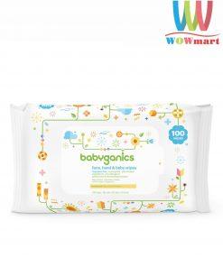 Khăn giấy ướt Babyganics Face, Hand & Baby Wipes 100 Tờ