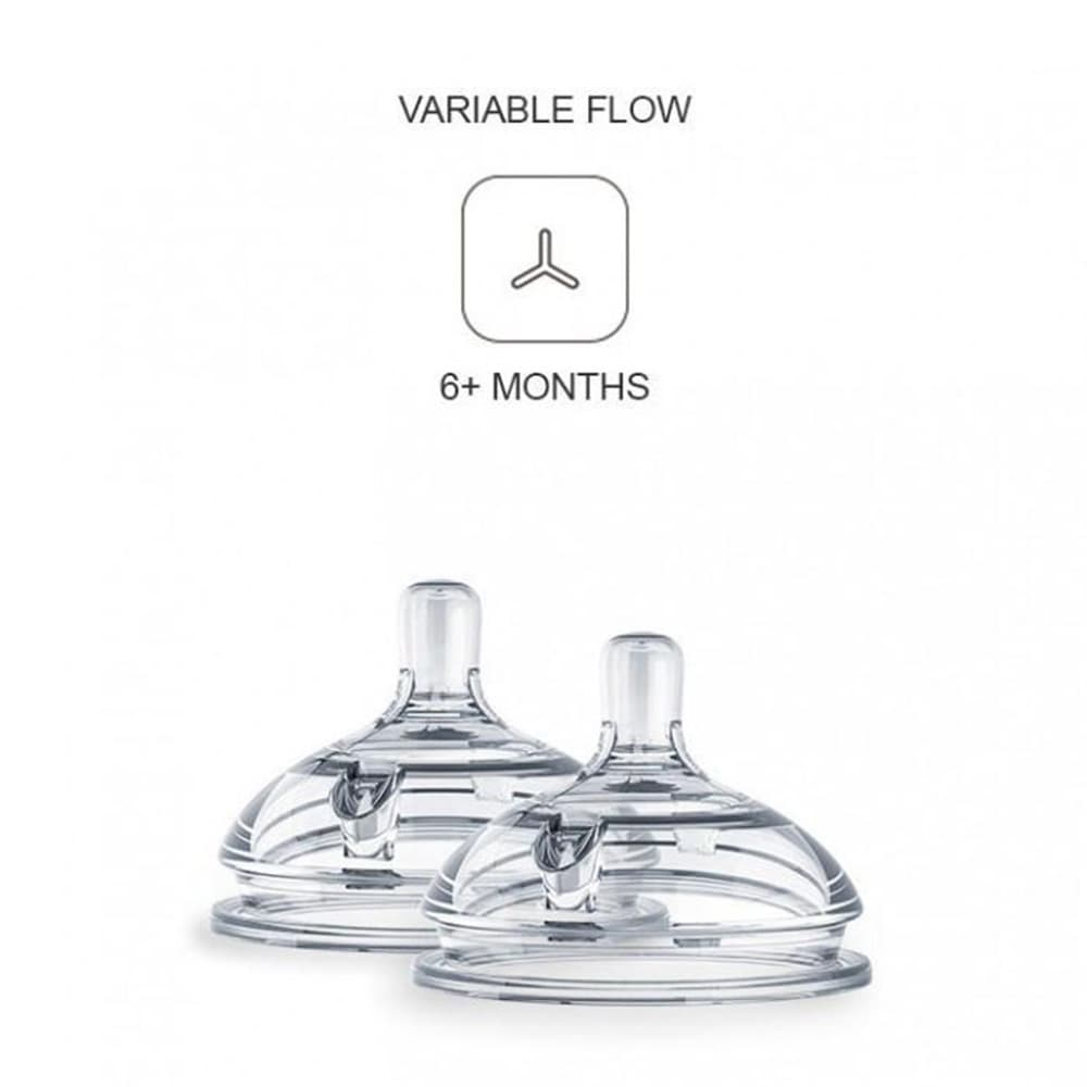 Set 2 núm ti bình sữa Comotomo Replacement Silicone Nipples 6m+ Y cut