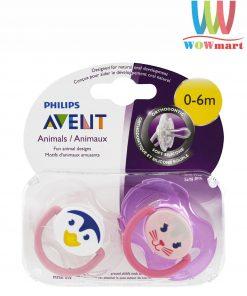 Set 2 ty ngậm Philips Avent Animals 0-6m mèo và cánh cụt