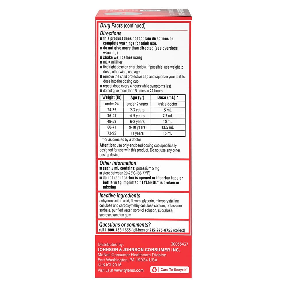 Siro giảm đau hạ sốt cho trẻ 2-11 tuổi Children's Tylenol Pain Fever 120ml vị Cherry