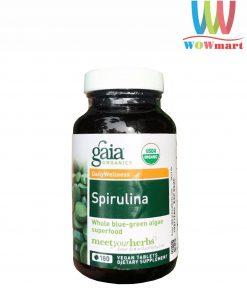 Tảo xoắn hữu cơ Gaia Organics Spirulina 180 viên