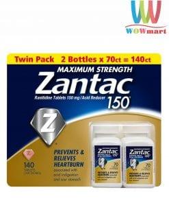 Viên uống trị đau bao tử Zantac 150mg Maximum Strength 140 viên