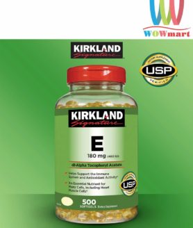 Viên Vitamin E làm đẹp da Kirkland Signature Vitamin E 400 IU 500 viên (nắp đỏ)