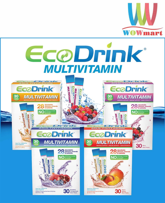Bổ sung vitamin từ bột trái cây hòa tan EcoDrink Multivitamin Berry 30 gói vị dâu
