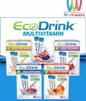Bổ sung vitamin từ bột trái cây hòa tan EcoDrink Multivitamin Blueberry Pomegranate 30 gói vị Việt quất và Lựu đỏ
