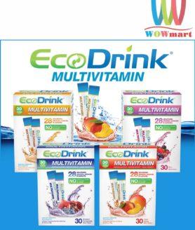 Bổ sung vitamin từ bột trái cây hòa tan EcoDrink Multivitamin Peach Mango 30 gói Đào và Xoài