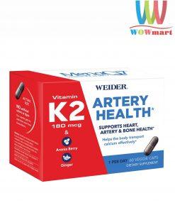 Hỗ trợ tim và xương khỏe mạnh Weider Artery Health Vitamin K2 180mcg 60 viên