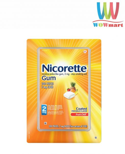 Kẹo cai thuốc Nicorette Gum Fruit Chill 2mg 200 viên