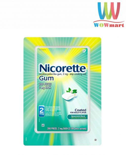 Kẹo cai thuốc Nicorette Gum Spearmint Burst 2mg 200 viên