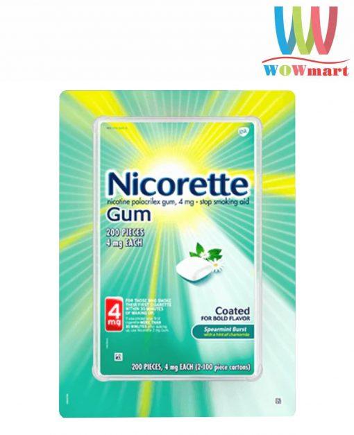 Kẹo cai thuốc Nicorette Gum Spearmint Burst 4mg 200 viên