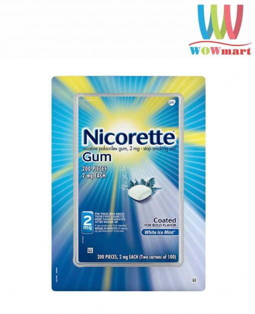 Kẹo cai thuốc Nicorette Gum White Ice Mint 2mg 200 viên