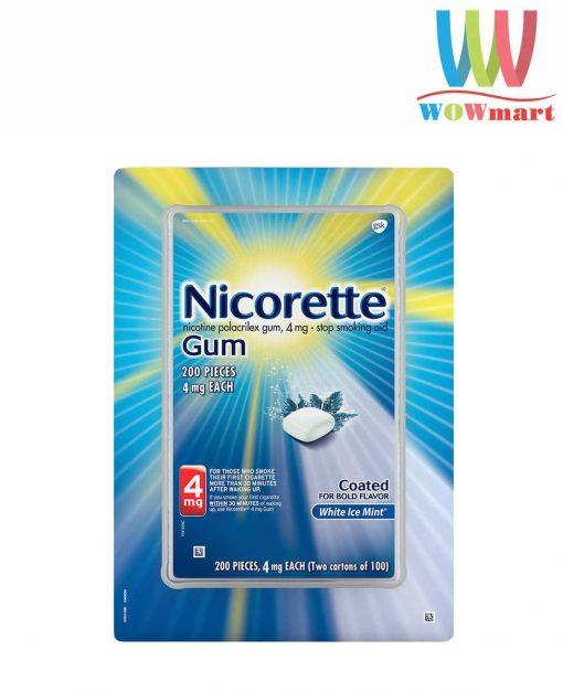 Kẹo cai thuốc Nicorette Gum White Ice Mint 4mg 200 viên