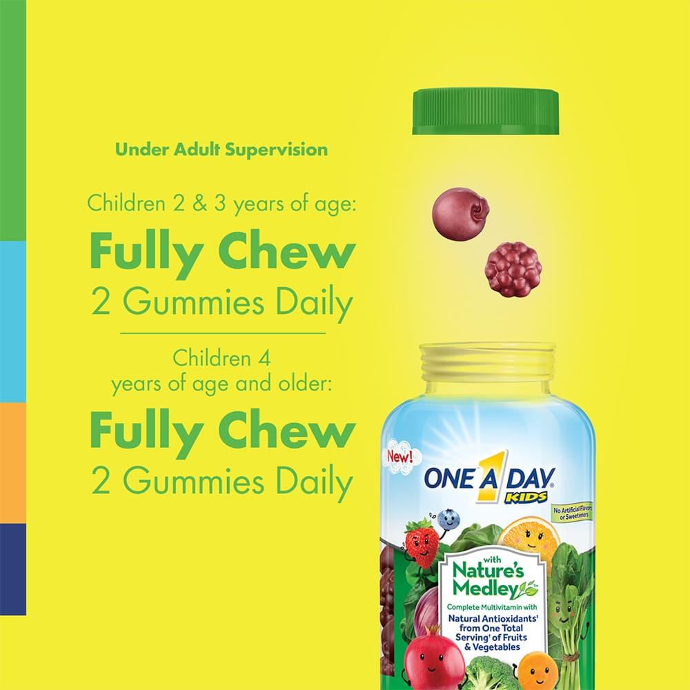 Kẹo dẻo Vitamin từ rau củ quả cho trẻ em One A Day Kids Nature's Medley Gummies 110 viên