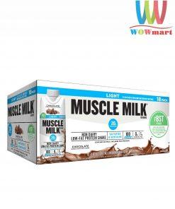 Sữa tăng cơ vị socola Muscle Milk Light Protein Chocolate 18 hộp x 330ml