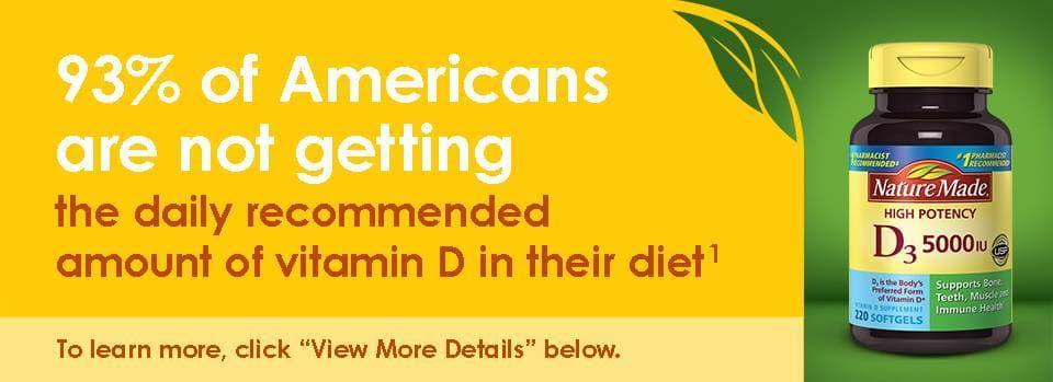 Viên nang uống cung cấp Vitamin D3 Nature Made 5000IU 220viên