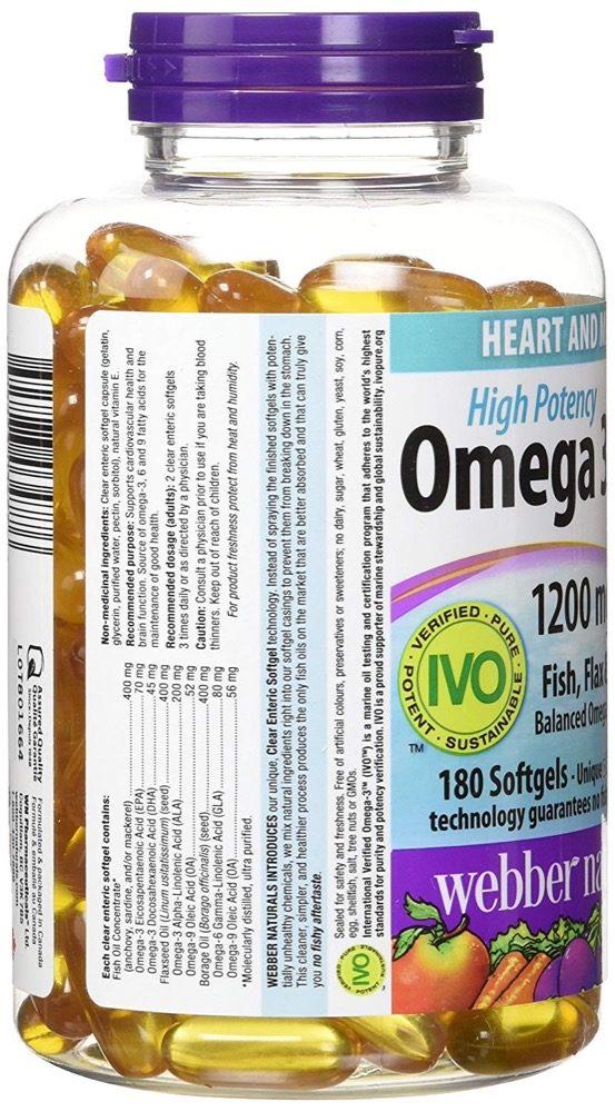 Dầu cá Webber Naturals High Potency Omega 3-6-9 180 viên