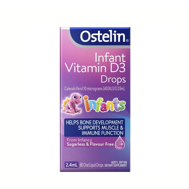 Vitamin hỗ trợ xương và đề kháng cho bé Ostelin Infant Vitamin D3 Drops 2.4ml