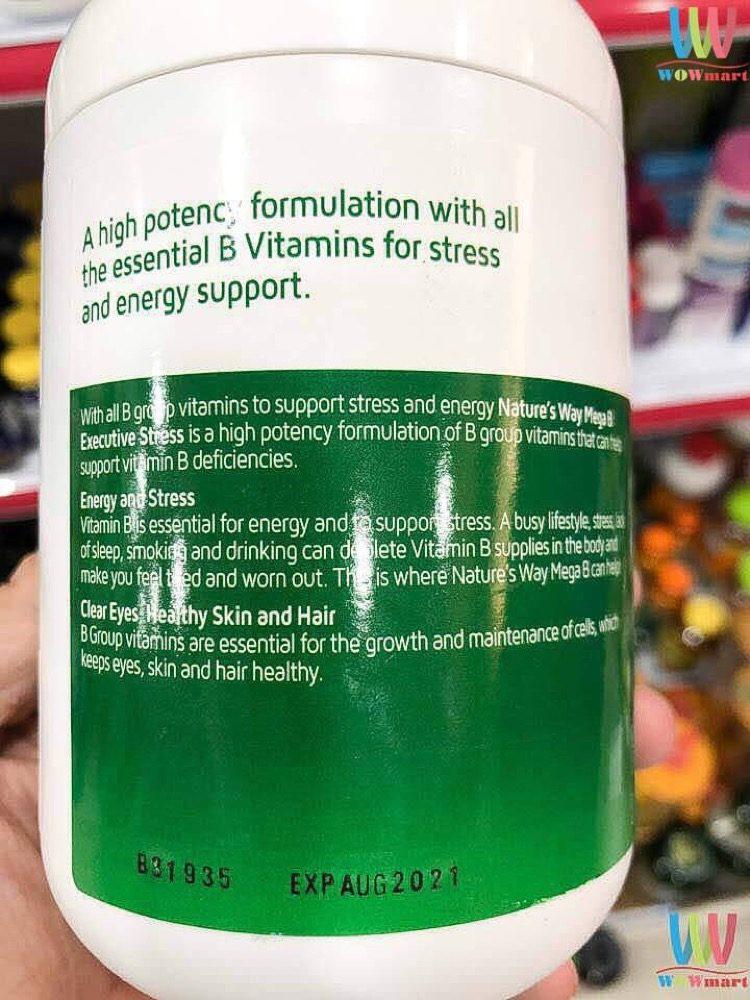 Viên uống Vitamin B giảm căng thẳng Nature's Way Mega B 200 Viên