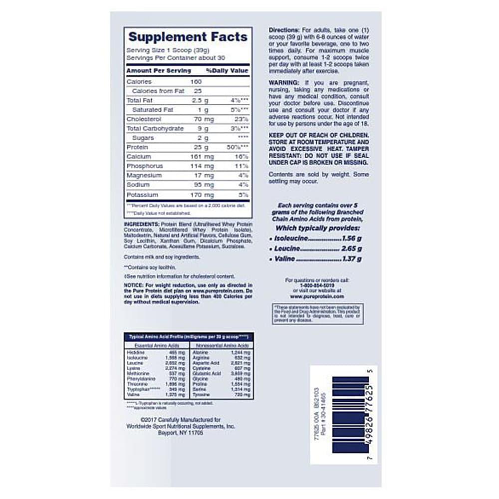 Bột Protein nguyên chất vị kem Vanilla Pure Protein 100% Whey Cream Vanilla 1.70g