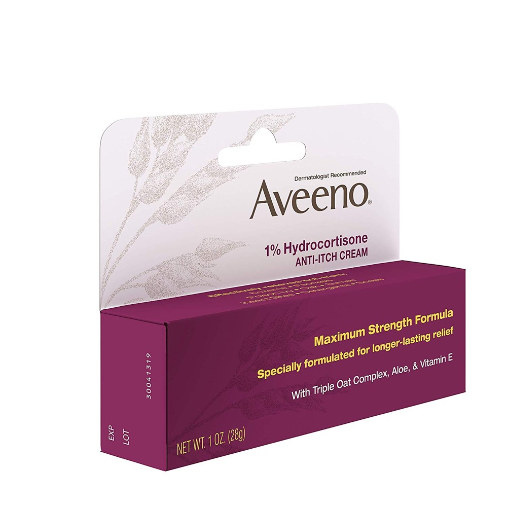 Kem giảm mẩn ngứa Aveeno 1% Hydrocortisone Anti, Itch Cream, Maximum Strength 28g