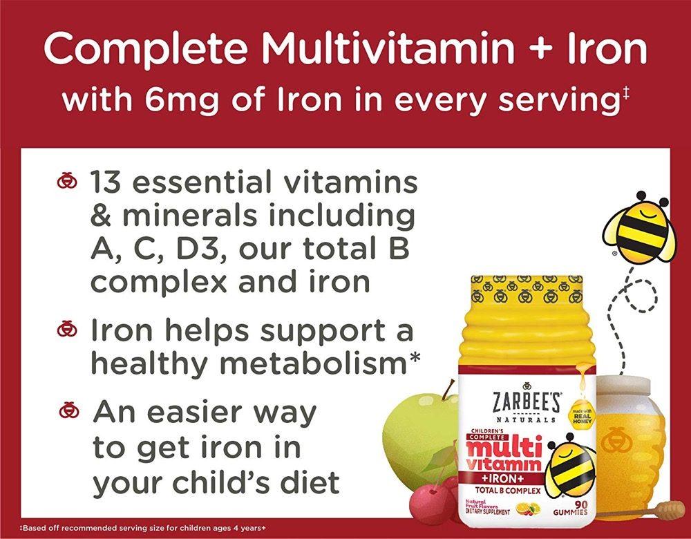 Kẹo dẻo bổ sung đa vitamin cho trẻ Zarbee's Multivitamin Total B Complex 90 viên