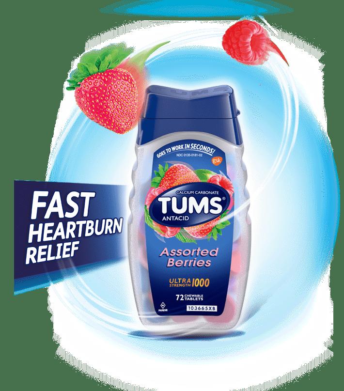 Viên ngậm giảm đày hơi khó tiêu Tums Antacid Assorted Berries 72 viên