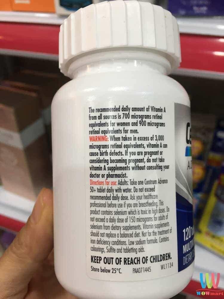 Vitamin cho người trên 50+ Centrum Advance 50+ For Adults 120 viên