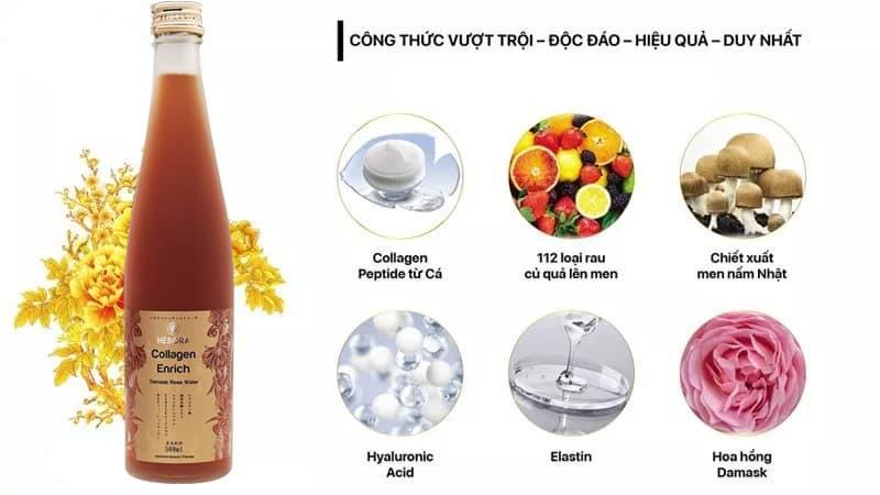 Nước uống collagen Hebora – Enrich Damask Rose Water 500ml