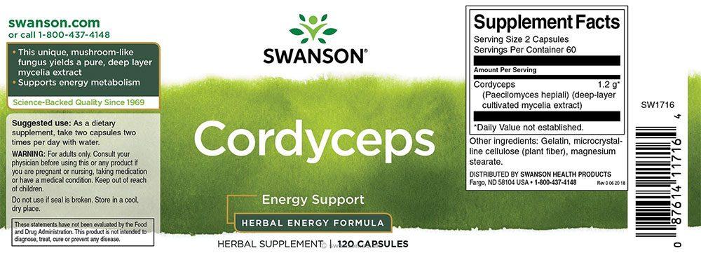 Viên uống đông trùng hạ thảo Swanson Cordyceps 600mg 120 viên