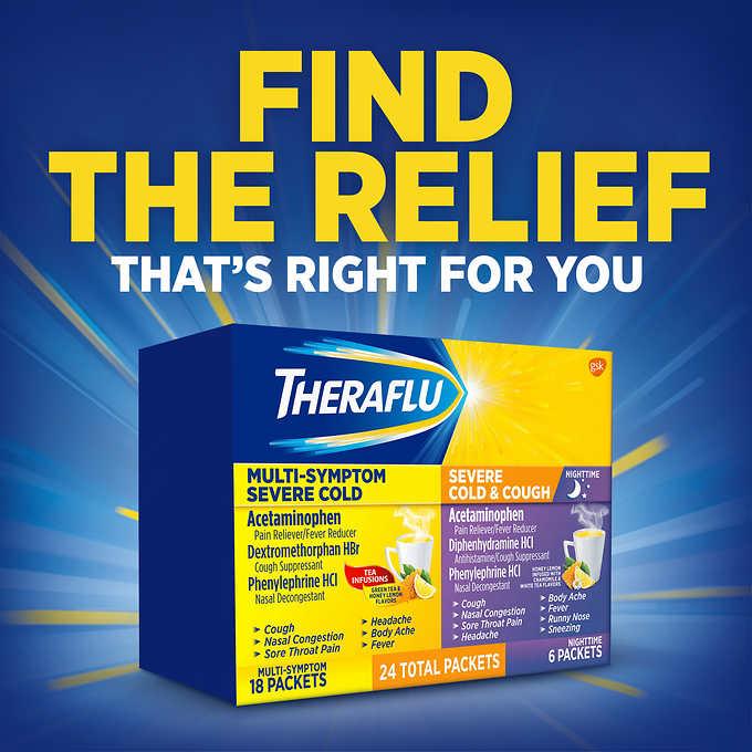 Theraflu Multi Symptom Nighttime Severe Cold Cough 24 Powder Packets 5