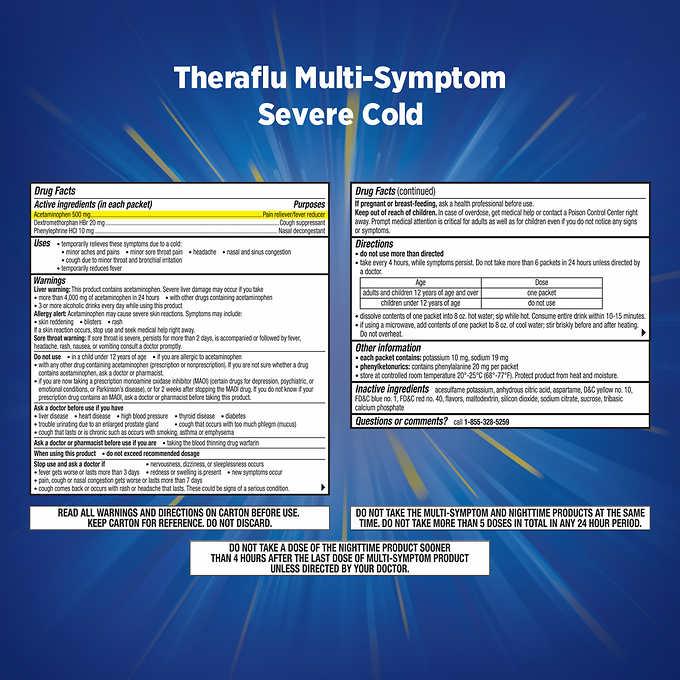 Theraflu Multi Symptom Nighttime Severe Cold Cough 24 Powder Packets 6