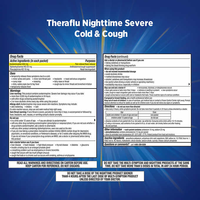 Theraflu Multi Symptom Nighttime Severe Cold Cough 24 Powder Packets 7