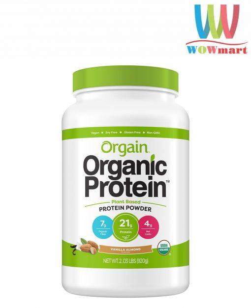 bot protein huu co orgain organic protein 920g huong vani hanh nhan k