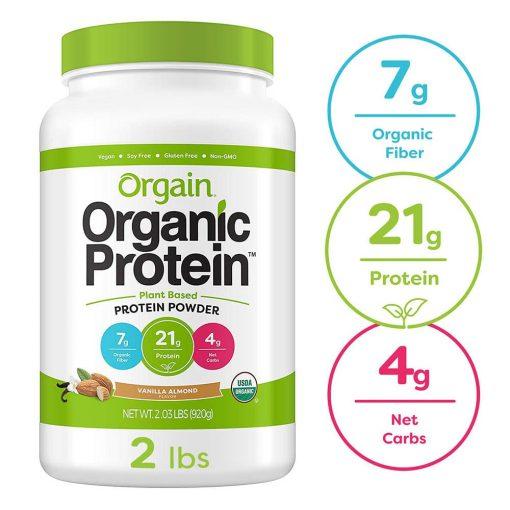 bot protein huu co orgain organic protein 920g huong vani hanh nhan ka
