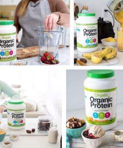 bot protein huu co orgain organic protein 920g huong vani hanh nhan kb