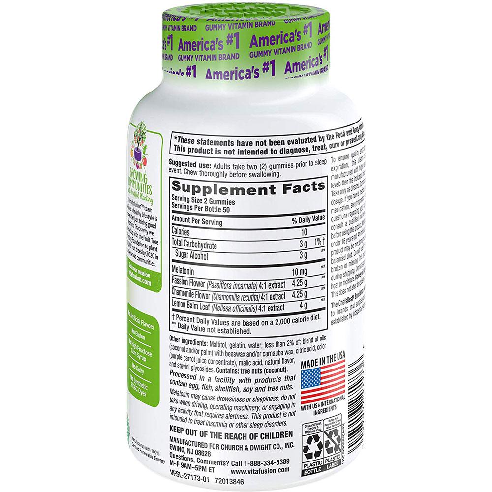 Kẹo dẻo hỗ trợ giấc ngủ ngon Vitafusion Melatonin Max Strength 10mg 100 viên vị dâu